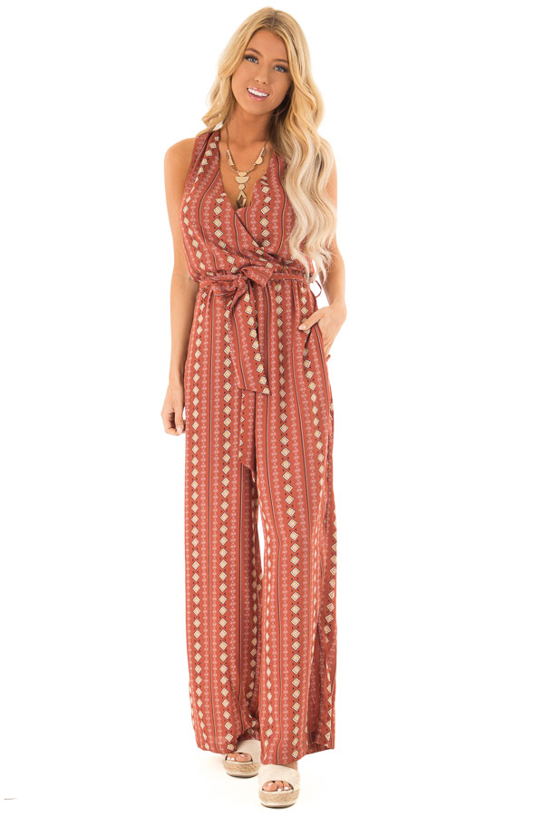 Rust Diamond Printed Sleeveless Jumpsuit with Pockets front full body