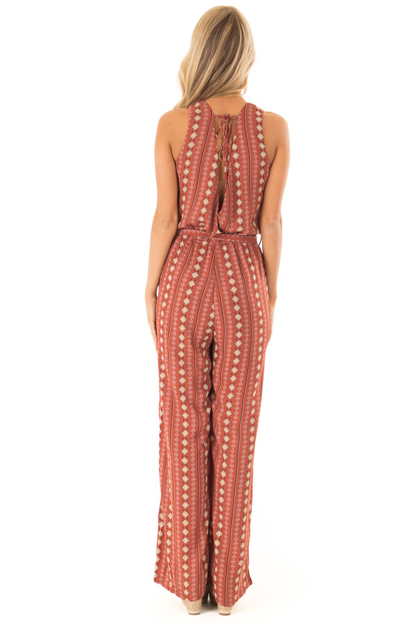 Rust Diamond Printed Sleeveless Jumpsuit with Pockets back full body