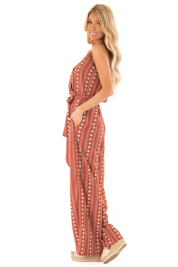 Rust Diamond Printed Sleeveless Jumpsuit with Pockets side full body