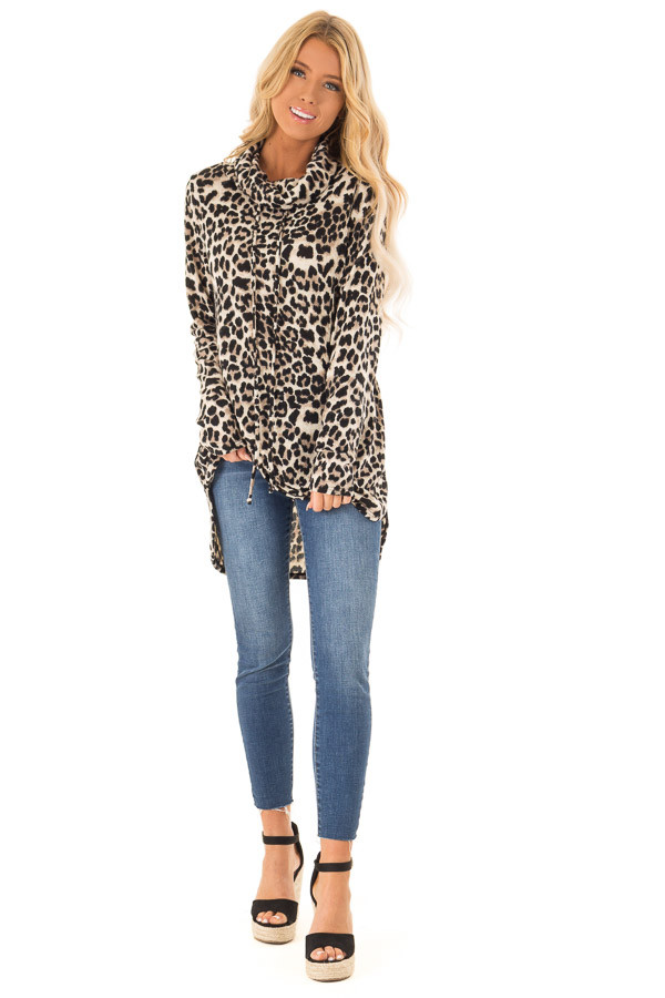 c721e8d4771e Leopard Print Cowl Neck Long Sleeve Tunic with Drawstrings front full body