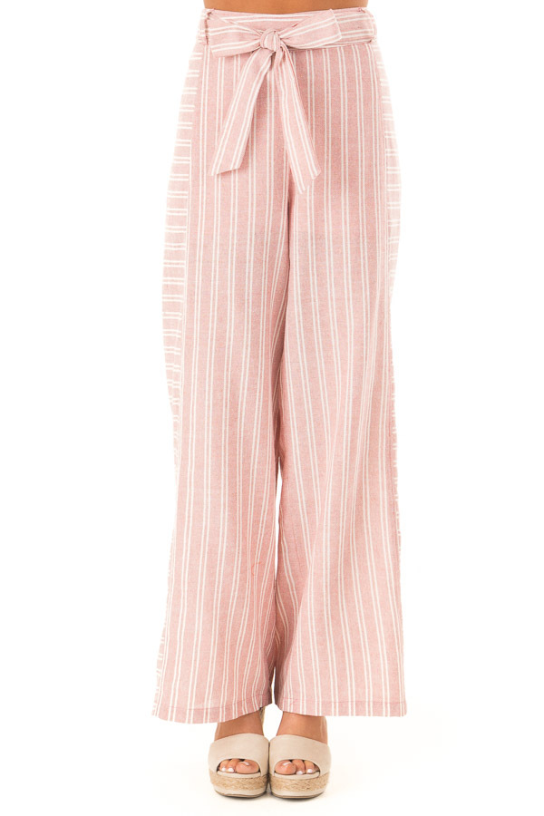 Dusty Pink Striped Wide Leg Pants with Waist Tie front view