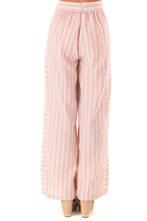 Dusty Pink Striped Wide Leg Pants with Waist Tie back view