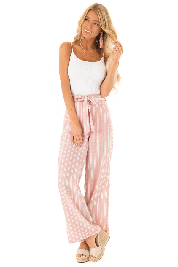 Dusty Pink Striped Wide Leg Pants with Waist Tie front full body