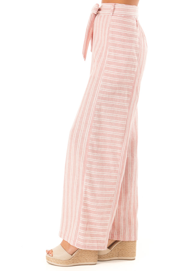 Dusty Pink Striped Wide Leg Pants with Waist Tie side view
