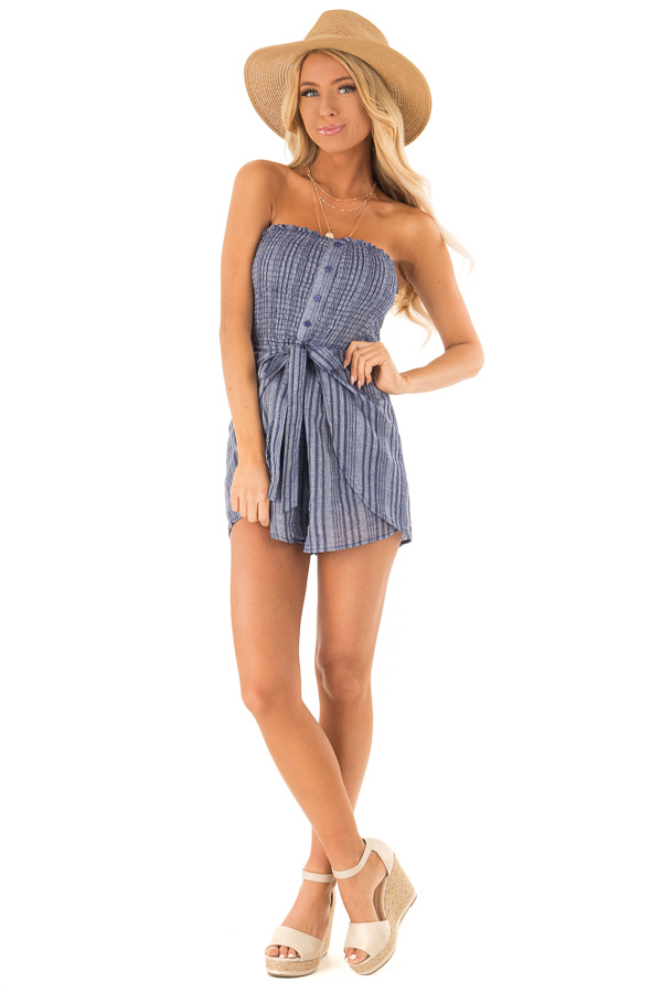 Denim Blue Striped Strapless Romper with Waist Tie front full body