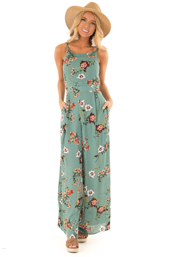 91c243499e7a Sage Floral Spaghetti Strap Jumpsuit with Back Tie - Lime Lush Boutique
