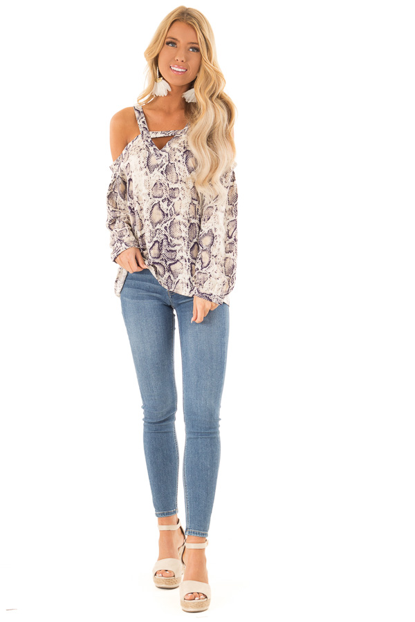 Taupe and Navy Snake Print Off Shoulder Top with Cutout front full body