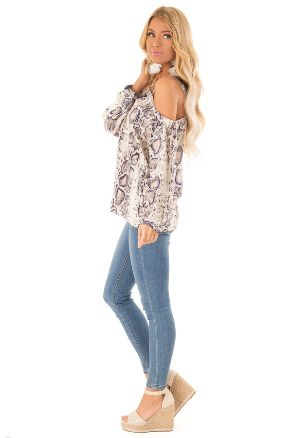 Taupe and Navy Snake Print Off Shoulder Top with Cutout side full body