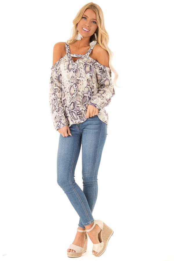 9a67c67811d23 Taupe and Navy Snake Print Off Shoulder Top with Cutout front full body ...