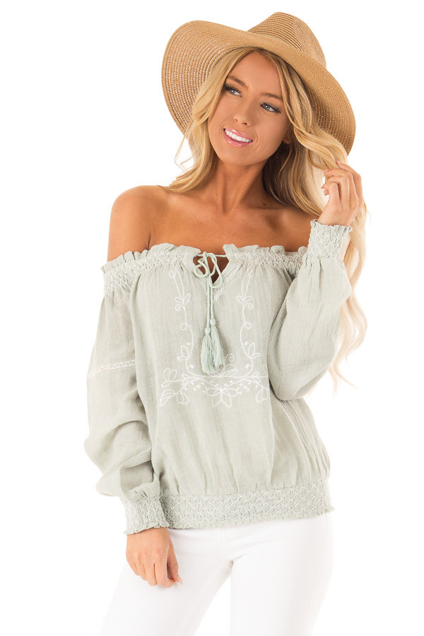 e3f97c56dae67 Light Sage Embroidered Off the Shoulder Top with Smocking front close up