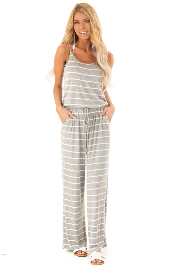Heather Grey Striped Spaghetti Strap Jumpsuit with Waist Tie front full body