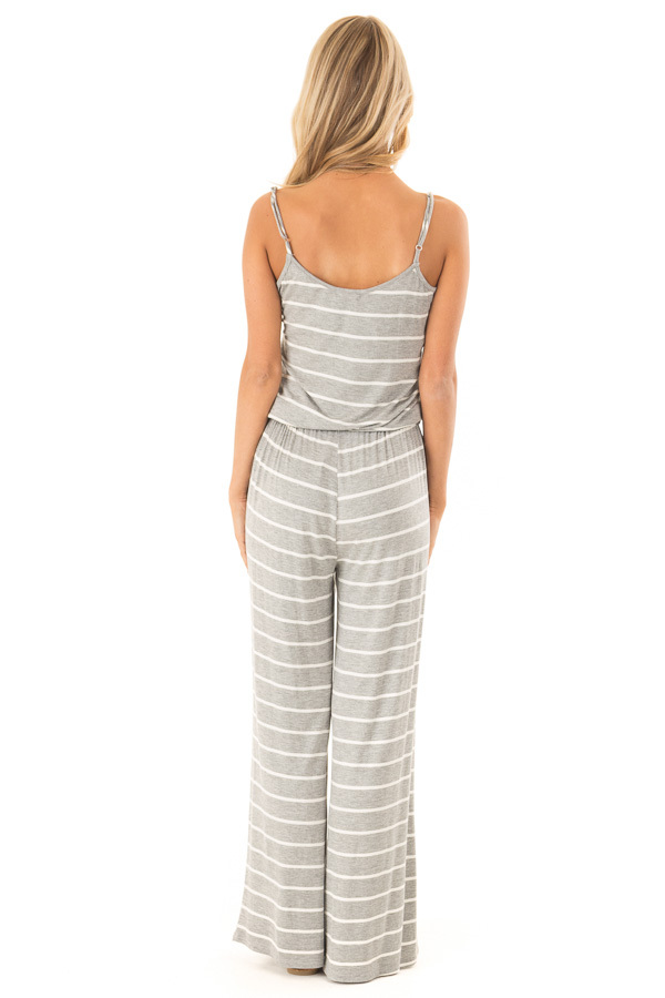 Heather Grey Striped Spaghetti Strap Jumpsuit with Waist Tie back full body