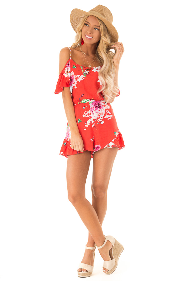 2779a5c7db82 ... Coral Red Floral Print Cold Shoulder Romper with Pockets front full  body ...
