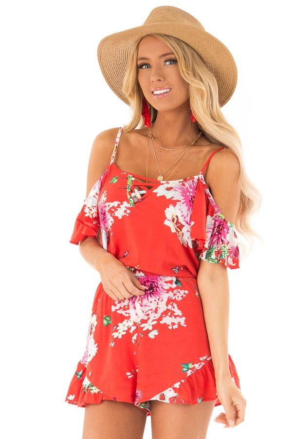 Coral Red Floral Print Cold Shoulder Romper with Pockets front close up