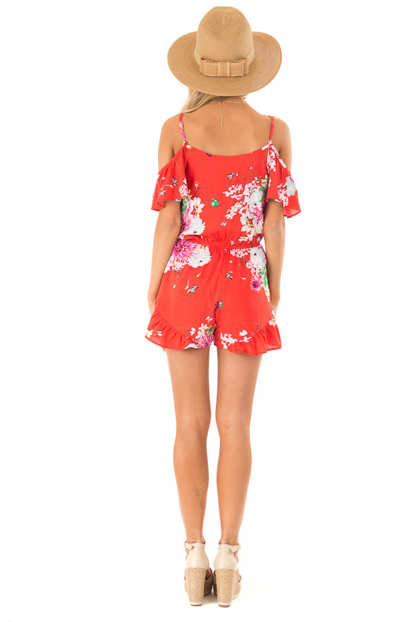 Coral Red Floral Print Cold Shoulder Romper with Pockets back full body