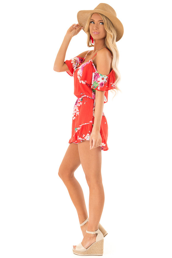 Coral Red Floral Print Cold Shoulder Romper with Pockets side full body