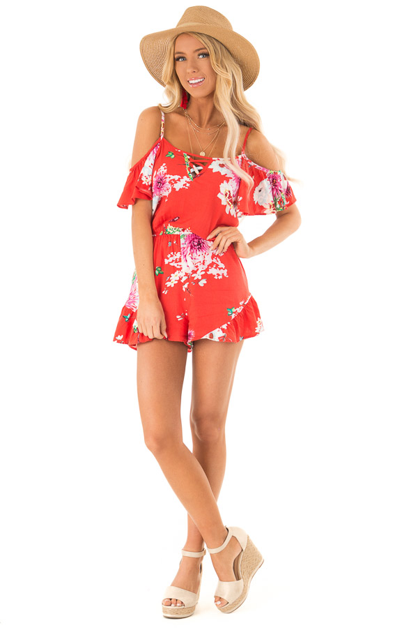 Coral Red Floral Print Cold Shoulder Romper with Pockets front full body
