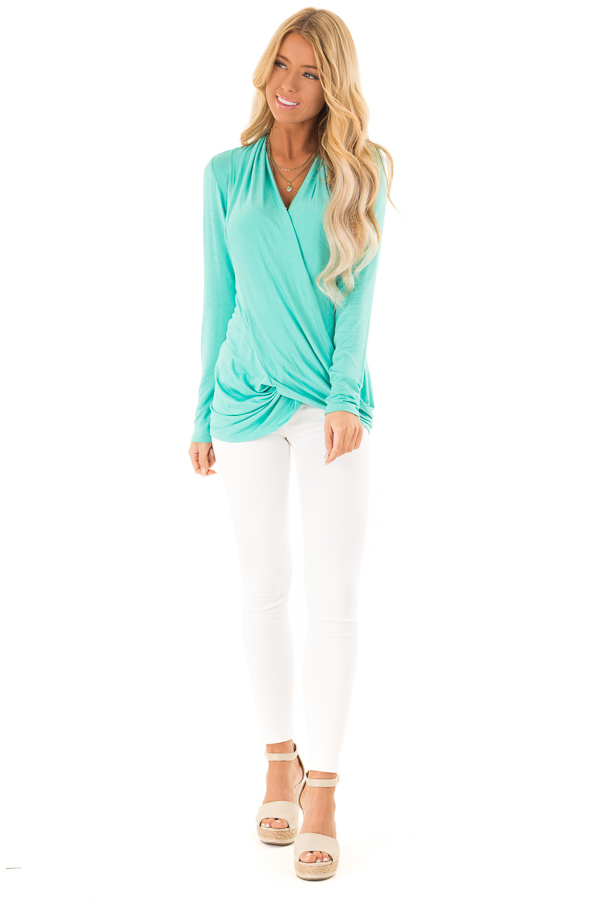 Bright Mint Long Sleeve Surplice Style Top front full body
