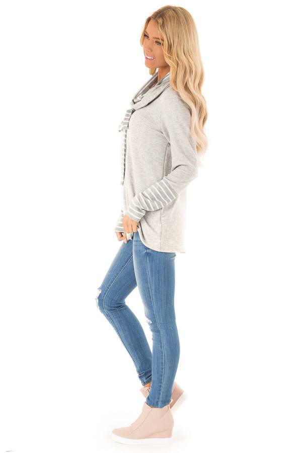 Heather Grey Long Sleeve Cowl Neck Top with Drawstrings side full body