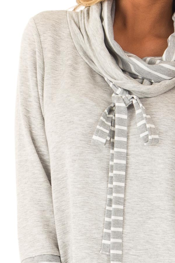 Heather Grey Long Sleeve Cowl Neck Top with Drawstrings detail