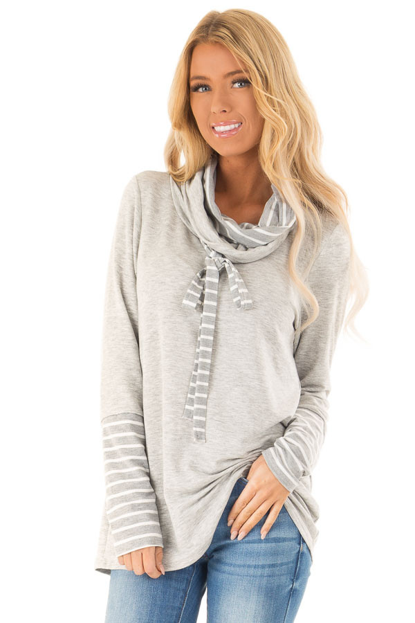 Heather Grey Long Sleeve Cowl Neck Top with Drawstrings front close up