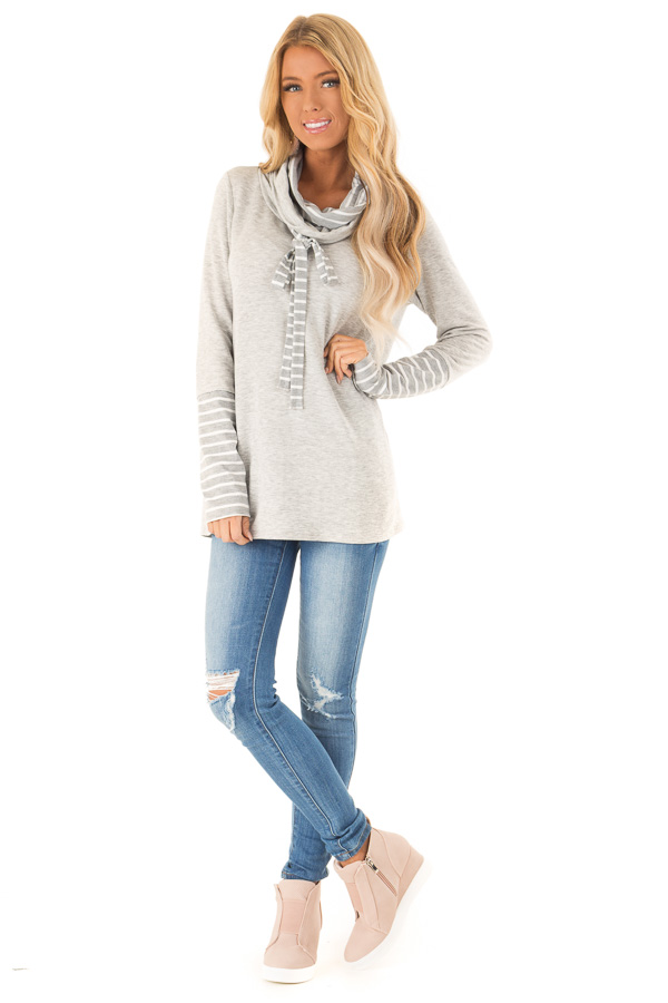 8ef58f36091e Heather Grey Long Sleeve Cowl Neck Top with Drawstrings front full body