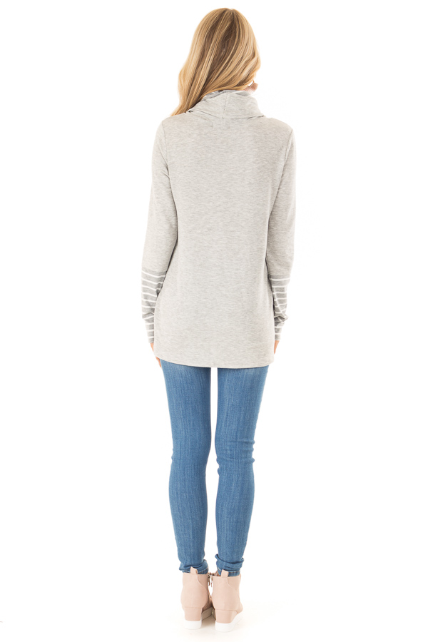Heather Grey Long Sleeve Cowl Neck Top with Drawstrings back full body