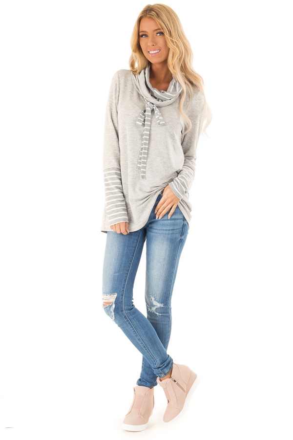 Heather Grey Long Sleeve Cowl Neck Top with Drawstrings front full body