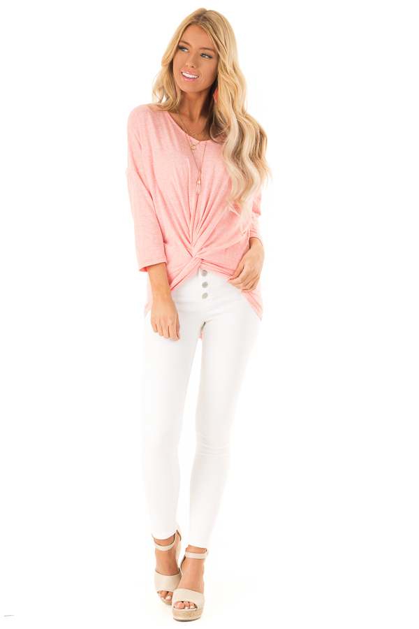 Coral Two Tone V Neck Top with Front Twist Detail front full body
