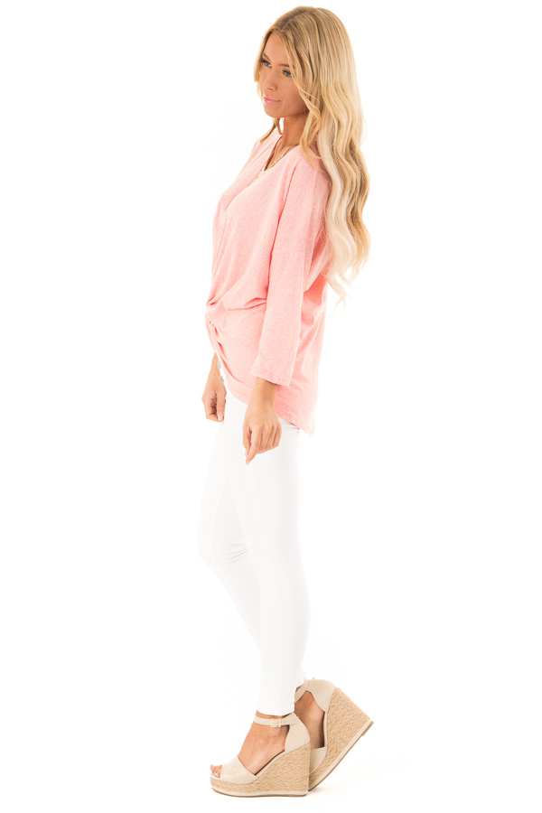 Coral Two Tone V Neck Top with Front Twist Detail side full body