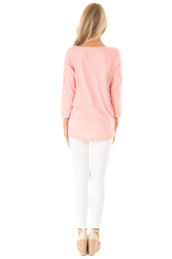Coral Two Tone V Neck Top with Front Twist Detail back full body