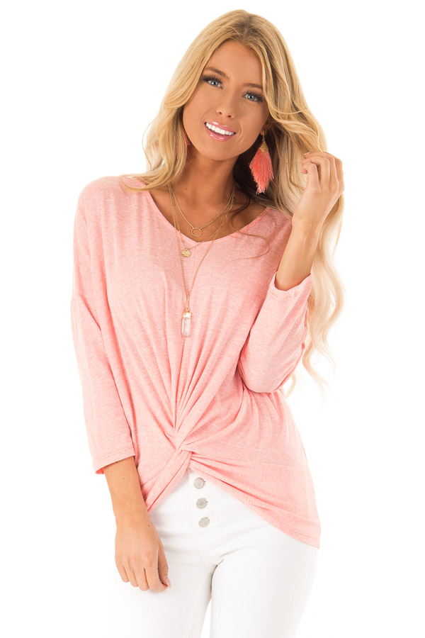 Coral Two Tone V Neck Top with Front Twist Detail front close up