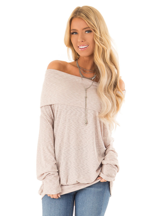 Champagne Ribbed Folded Off the Shoulder Long Sleeve Top front close up