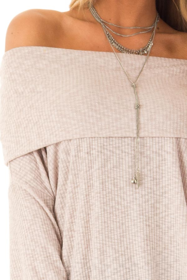 Champagne Ribbed Folded Off the Shoulder Long Sleeve Top detail