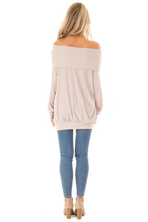 Champagne Ribbed Folded Off the Shoulder Long Sleeve Top back full body