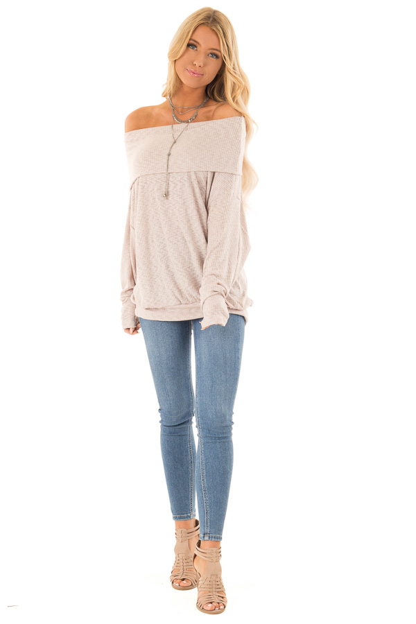Champagne Ribbed Folded Off the Shoulder Long Sleeve Top front full body