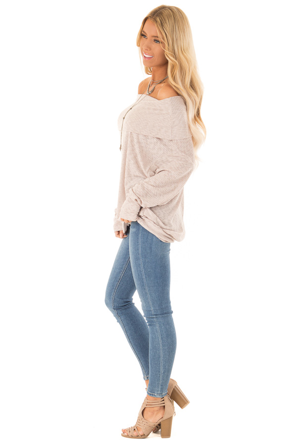 Champagne Ribbed Folded Off the Shoulder Long Sleeve Top side full body