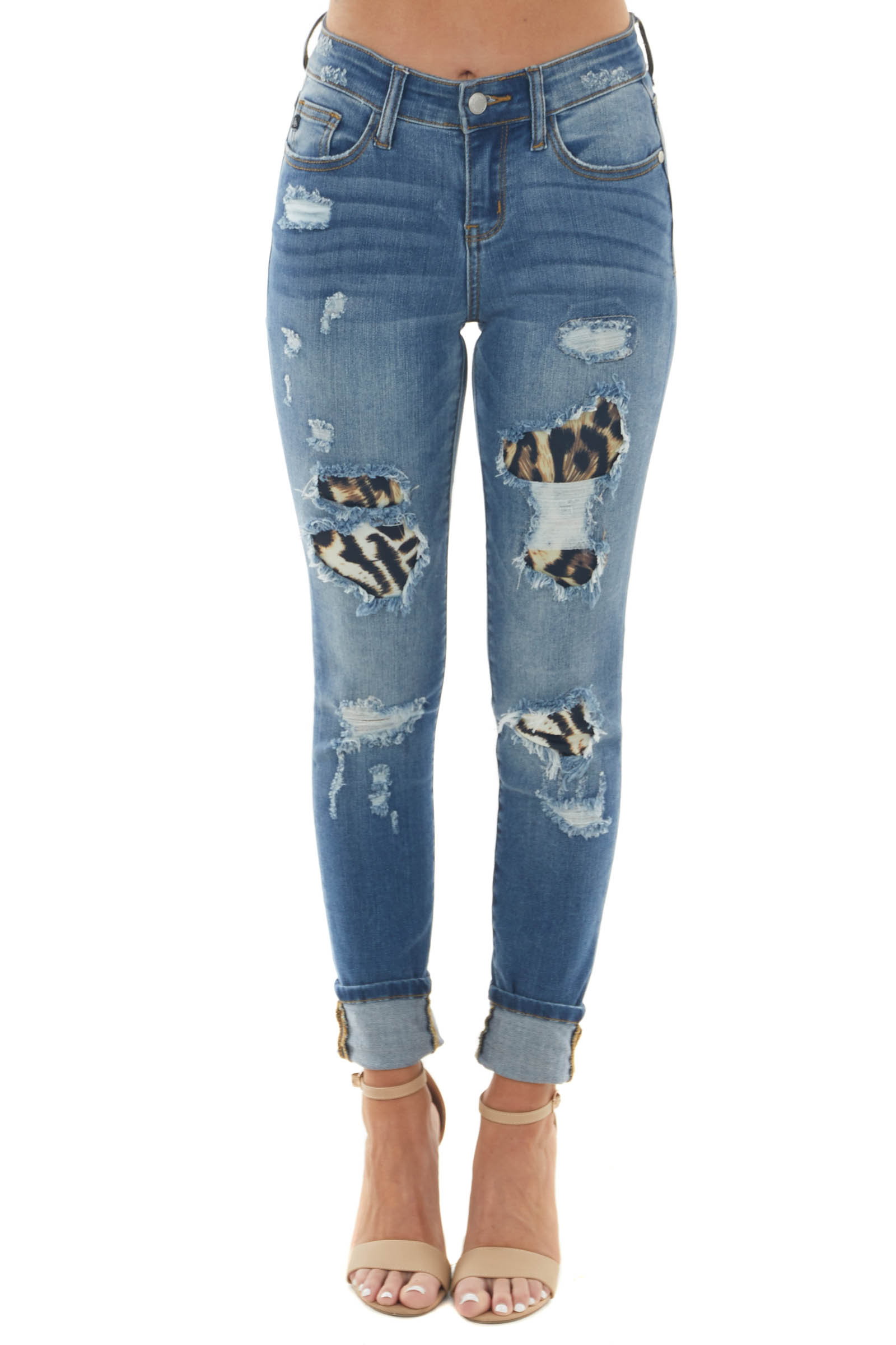 Medium Wash Distressed Skinny Jeans with Leopard Print Patch