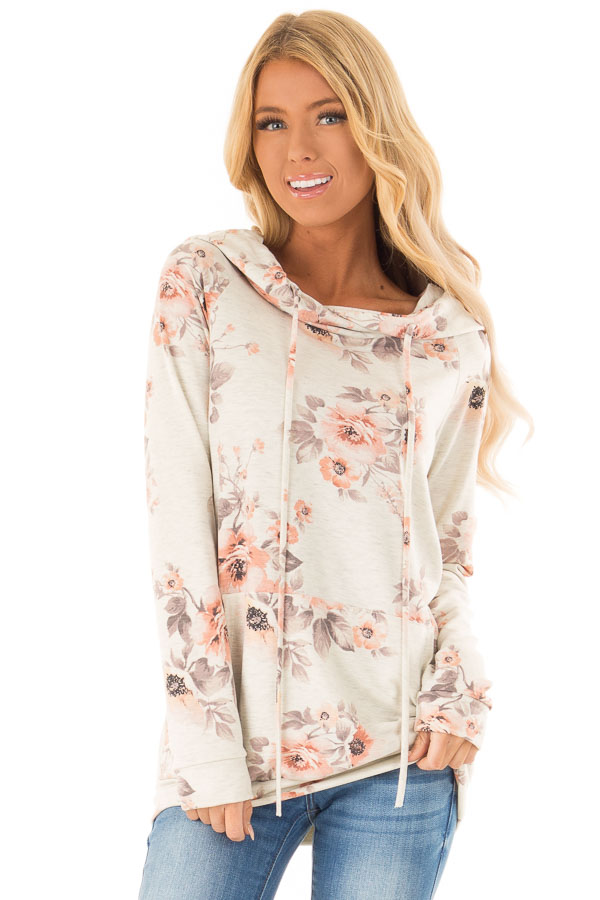 Oatmeal Floral Hoodie Top with Kangaroo Pocket front close up