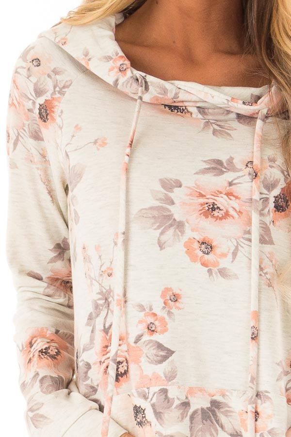 Oatmeal Floral Hoodie Top with Kangaroo Pocket detail
