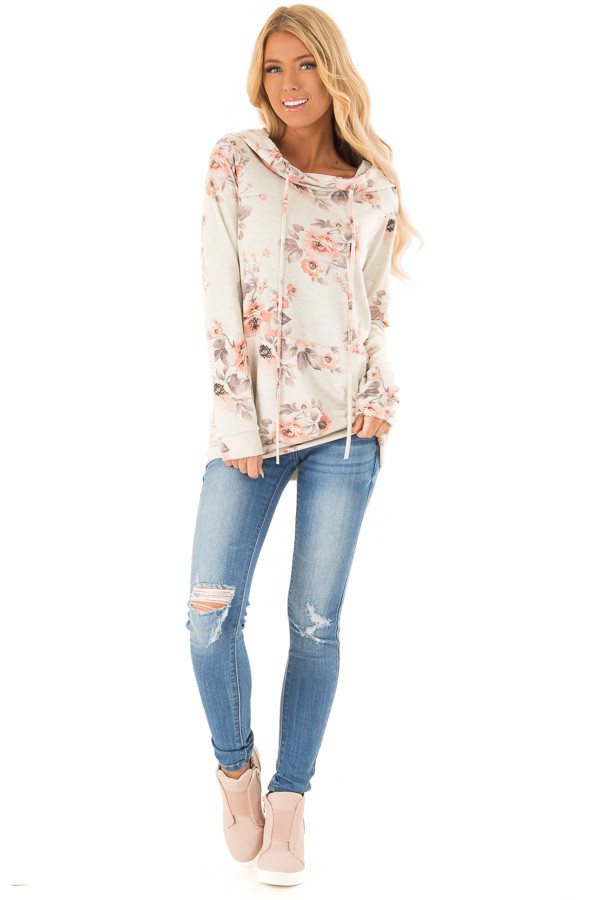 Oatmeal Floral Hoodie Top with Kangaroo Pocket front full body