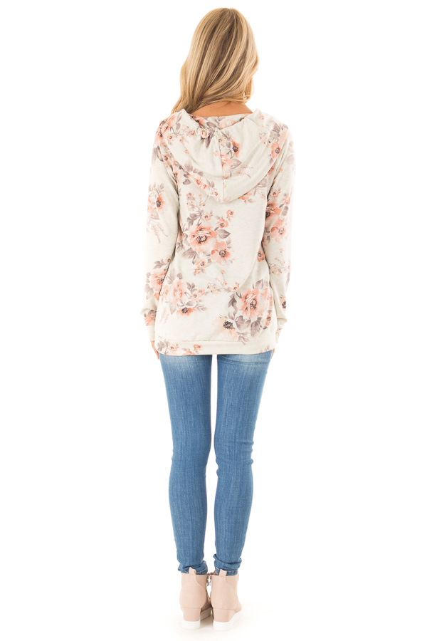 Oatmeal Floral Hoodie Top with Kangaroo Pocket back full body
