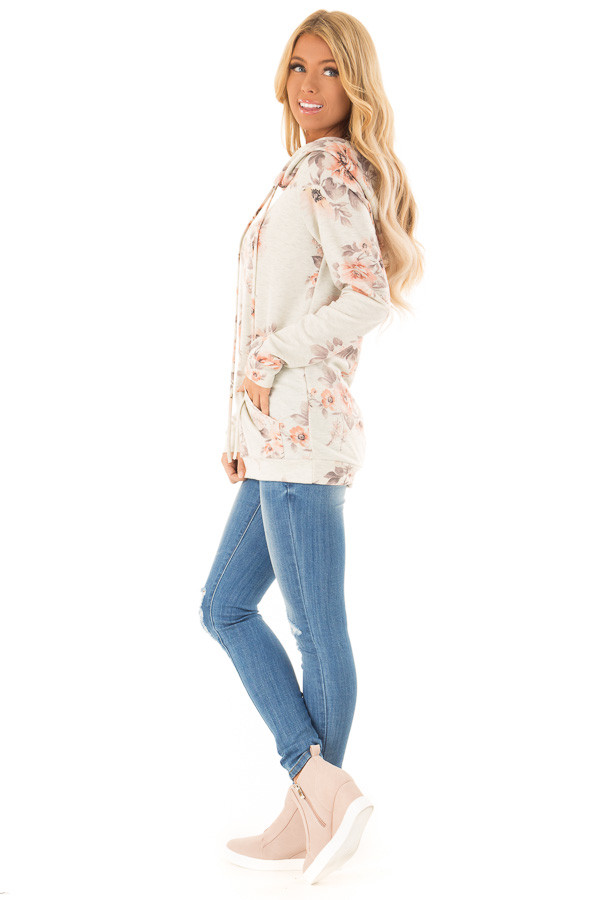 Oatmeal Floral Hoodie Top with Kangaroo Pocket side full body