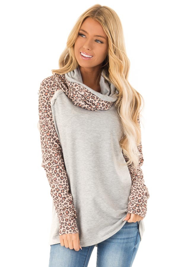 Heather Grey Distressed Leopard Raglan Sleeve Cowl Neck Top front close up