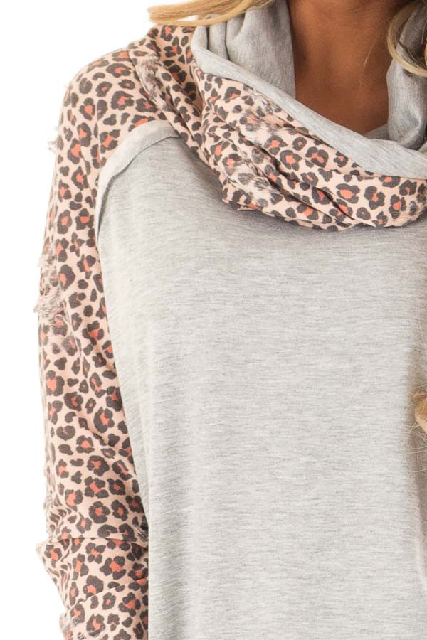 Heather Grey Distressed Leopard Raglan Sleeve Cowl Neck Top detail