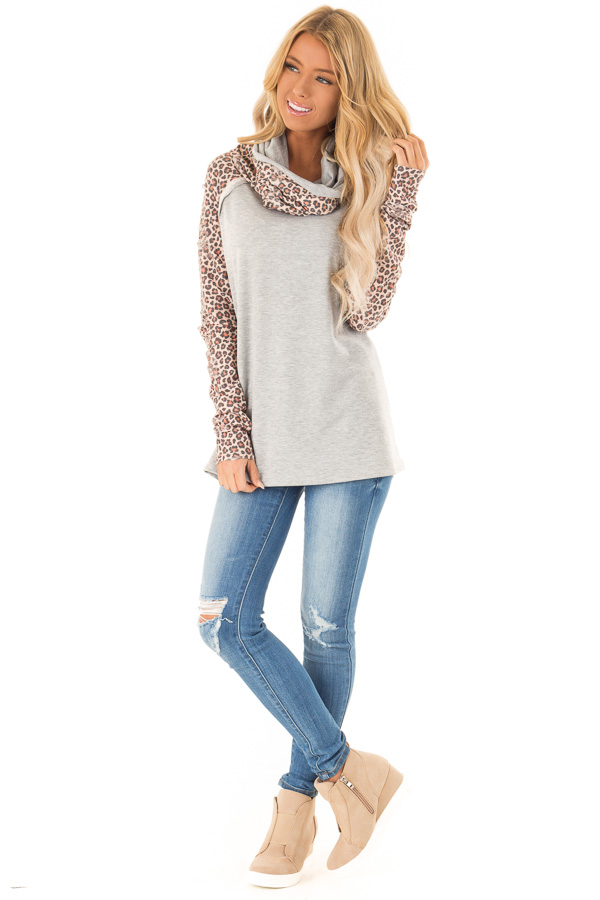 Heather Grey Distressed Leopard Raglan Sleeve Cowl Neck Top front full body