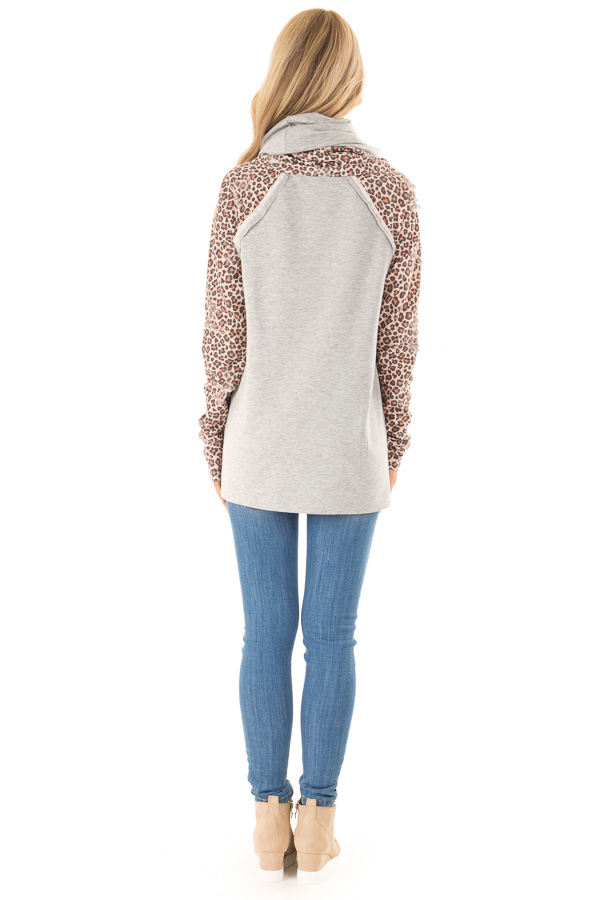 Heather Grey Distressed Leopard Raglan Sleeve Cowl Neck Top back full body