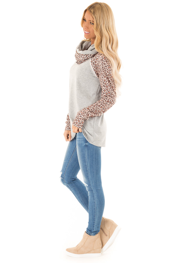 Heather Grey Distressed Leopard Raglan Sleeve Cowl Neck Top side full body