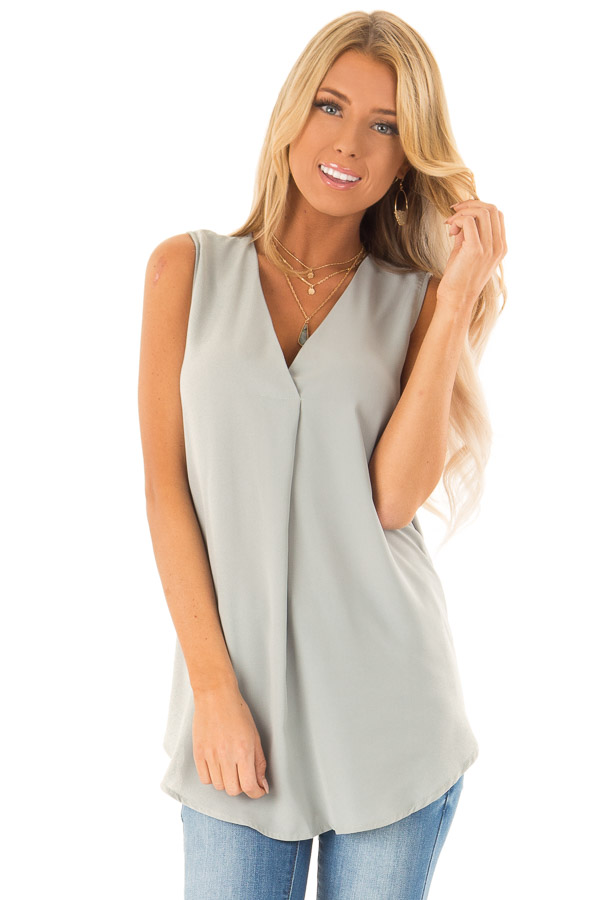 Dusty Sage Chiffon V Neck Sleeveless Blouse front close up