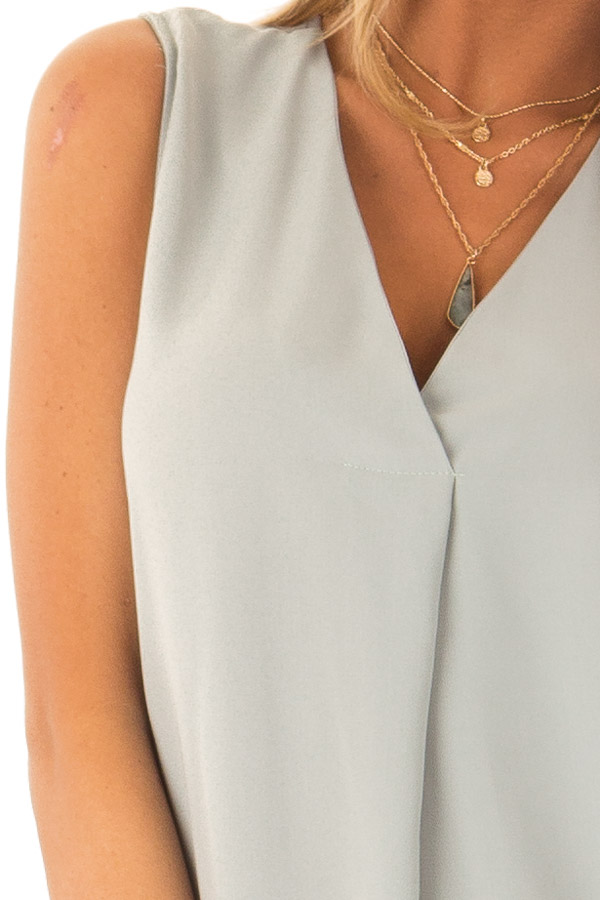 Dusty Sage Chiffon V Neck Sleeveless Blouse detail